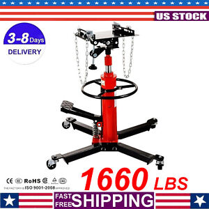 1660lbs 0 75 Ton Transmission Jack For Car Auto Lift 2 Stage Hydraulic W 360