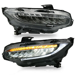 Free Shipping To Pr For 16 18 Honda Civic Headlights W Drl Sequential Turn
