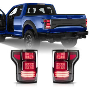 For 17 20 F 150 Raptor Red Clear Full Led Fiber Optic Tron Style Taillights