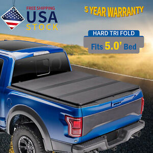For 2019 2021 Jeep Gladiator 5 0ft Hard Solid Tri fold Truck Bed Tonneau Cover