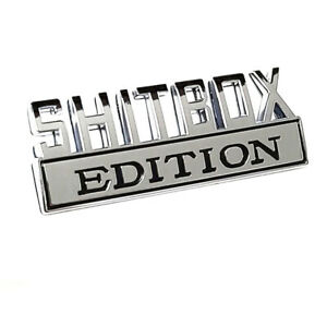 1x Shitbox Edition Emblems 3d Badge Decal For F150 F250 F350 Chevy Chrome