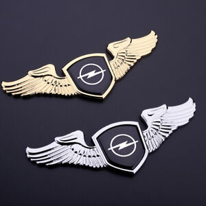 1x22cm 3d Alloy Wing Logo Hood Trunk Tailgate Badge Emblem For Opel Chrome Gold