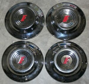 4 1951 Ford f Logo Dog Dish 10 5 Hub Cap Set Chrome Red Vintage