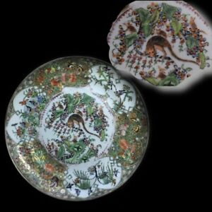 Canton Famille Rose Dish With Squirrels Rats Qing Dynasty 19th Century