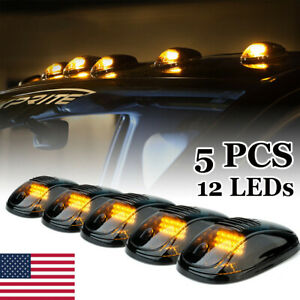 5pcs Amber Led Cab Roof Top Marker Running Lights For Ford Jeep Dodge Truck Suv