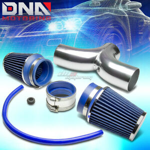 For 97 04 Chevy Corvette C5 Ls1 Ls6 Dual Intake Induction Pipe Blue Air Filter