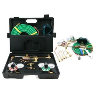 Gas Oxygen Torch Acetylene Welder Welding Cutting Kit With Hose Case And Goggles