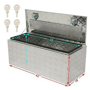 42 X18 Aluminum Truck Pickup Camper Bed Tool Box Trailer Storage W Lock Silver