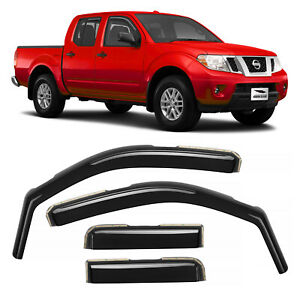 Voron Glass Window Rain Guards For Nissan Frontier 05 20 Crew Cab In channel