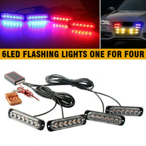 Car 6led Amber white Police Strobe Flash Light Dash Emergency Warning Lamp E_