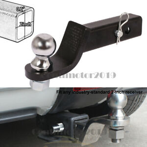 Drop Hitch 2 Trailer Chrome Ball Mount With Ball For 2 Receiver Towing Bar