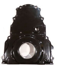 Timing Chain Cover 2 Piece Black Ls Chevy With Cam Position Sensor Hole Cps Alum