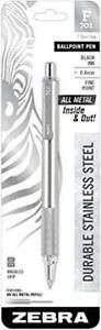 Zebra Pen 29411 F 701 Ballpoint Stainless Steel Retractable Pen Fine Point