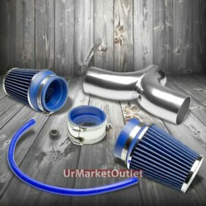 Dual Shortram Air Intake Pipe Blue Filter For Chevy 97 04 Corvette C5 Ls1 Ls6