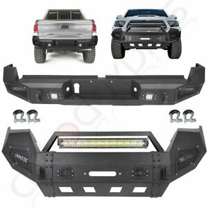 Steel Front Rear Bumper W Led Light D ring Winch For 2016 2019 Toyota Tacoma