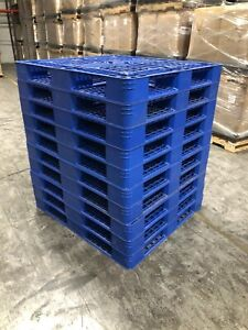 Lot Of 10 Plastic Pallets 48x44x5 4way Rackable Heavy Duty Free Usa Shipping