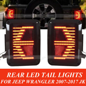 For 07 17 Jeep Wrangler Jk Led Rear Tail Lights Smoke Lens Reverse Turn Signal