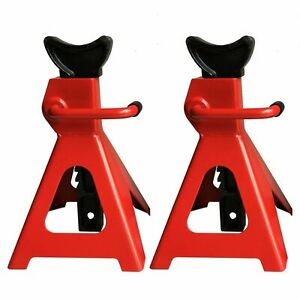 A Pair Of Racing Jack Stands 3 Ton 6 000 Lb Heavy Duty For Car Truck Auto Red