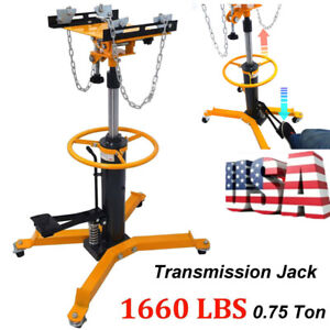 1660lbs Transmission Jack 2 Stage Hydraulic W 360 Swivel Wheels Lift Hoist Auto