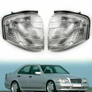 Pair Corner Lights Turn Signal Lamps Fit For Mercedes Benz C Class W202 1994 00