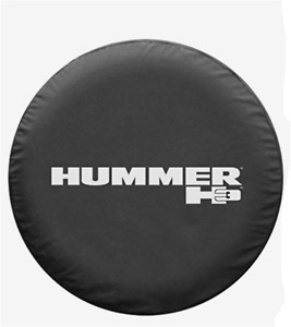 Black 16 Inch Spare Wheel Tire Cover For Hummer H3 Silver Logo Non reflective
