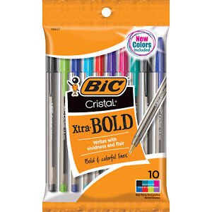 Bic Cristal Xtra Bold Ballpoint Pen 1 6mm Medium Point Assorted Colors 10 co