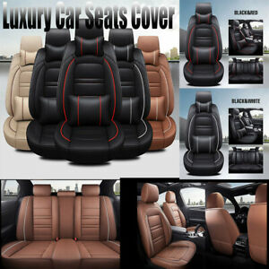 Us Luxury Car Seat Covers Pu Leather 5 Seats Front Rear Universal Set Protector