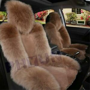 1x Soft Genuine Australian Sheepskin Fur Long Wool Car Front Seat Covers Winter