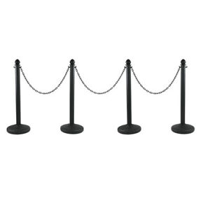 4 Stanchion Set Crowd Control Barrier Posts Queue Pole Water Filled Base Chain