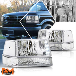 For 92 96 Ford F150 f250 f350 Led Drl Headlight lamp Chrome Housing Clear Corner