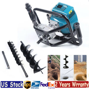 52cc 2 Stroke Post Hole Digger Gas Powered Earth Auger Borer Fence 2x Drill Bits