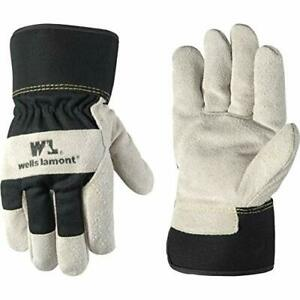 Men s Heavy Duty Leather Palm Winter Work Gloves With Safety Cuff Medium