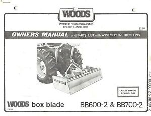 Woods Bb600 2 700 2 Box Blade Owner s Manual
