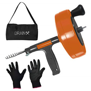 Drainx Power Pro 25 ft Steel Drum Auger Plumbing Snake With Drill Adapter Duty