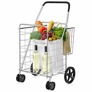 Costway Utility Shopping Cart Foldable Jumbo Basket Outdoor Grocery Laundry