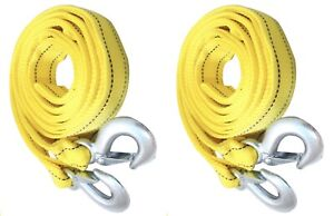 2 Pack 5 Tons Car Tow Cable Towing Strap Rope With 2 Hooks Emergency Heavy Duty