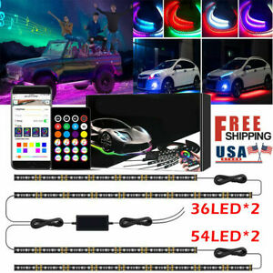 Rgb Led Strip Under Car Tube Underglow Lamps Kit W App Bluetooth Remote Control