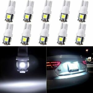 10x Ultra Bright White 5 5050 smd Led T10 168 194 License Plate Light Bulbs Lamp