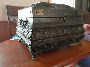 Vtg Footed Table Top Ornate Trinket Jewelry Storage Box Reposse Wooden Lined