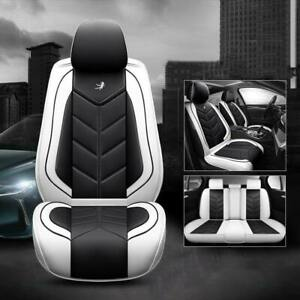 Universal Car 5 Seat Covers Protector Front Rear Black White Pu Leather 3pcs