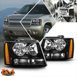 For 07 14 Chevy Tahoe suburban Headlight lamps Replacement Amber Corner Black