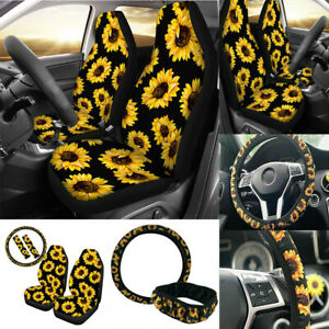 2pcs Sunflower Car Front Seat Covers Universal W steering Wheel Cover W belt Set
