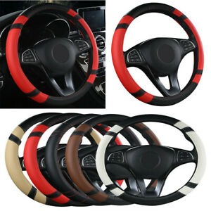 Black Red Car Auto Suv Steering Wheel Cover Pu Leather Universal 15 38cm