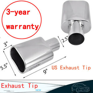 Stainless Steel Rolled Oval Exhaust Tip 2 5 Inlet 5 5 Outlet 9 Long
