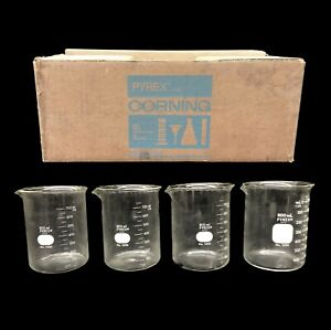 Lot Of 4x Pyrex 1000 800ml Griffin Beaker Low Form Graduated Lab Glassware