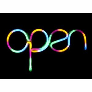 Open Neon Sign Multicolor mix Green Pink Yellow Blue usb Powered Display For