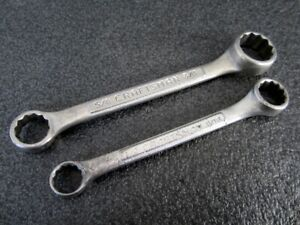 Vintage Craftsman 2pc Sae Stubby Short Box End Wrench Set Made In Usa
