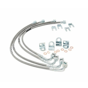 Front Rear Rough Country Extended Stainless Brake Line Fit Jeep Wrangler Jk