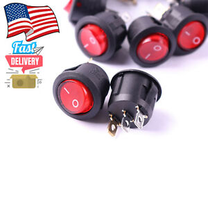 10 Pc 12v Led Round Rocker On Off Spst Toggle Switches For Car Auto Boat