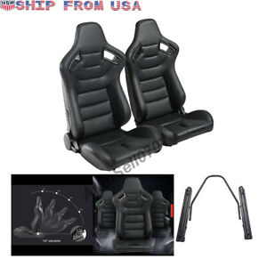 1pair Pu Leather Car Racing Seats Universal Sport Seat W 2 Sliders Black Orange